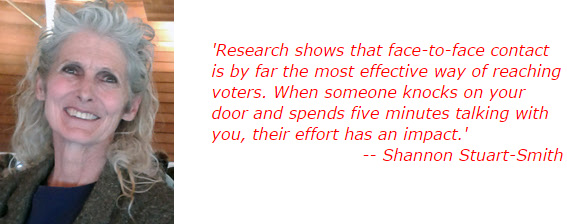'Research shows that face-to-face contact is by far the most effective way of reaching voters. When someone knocks on your door and spends five minutes talking with you, their effort has an impact.' -- Shannon Stuart-Smith